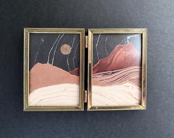 Red Rocks Marbled Paper Landscape Mountains 7.25x5 inches Collage Brass Frame Double Antique Letterpress Gold Moon