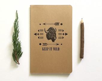 SALE! Letterpress Moleskine Journal - Keep it Wild Buffalo