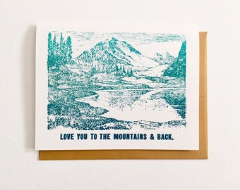 Letterpress Valentine Card - Love You to the Mountains and Back
