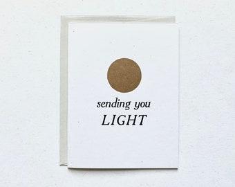 Letterpress Card - Sending You Light - Gold Sun Aura