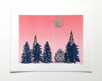 SALE! 10x8 Letterpress Print  - Silver Moon Over Pine Trees