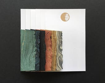 Stationery in Space - 6 Letterpress Gold Moon Letter Papers & 6 Marbled Envelopes