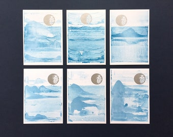 Postcard 6-Pack Moon, Water & Mountains Collection
