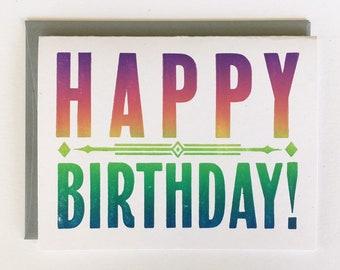 Letterpress Card - Rainbow Happy Birthday