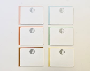 Letterpress, Moon, Stationery, Flat Card, Silver Moon, Gold Moon, 6 Pack, Multicolored envelopes