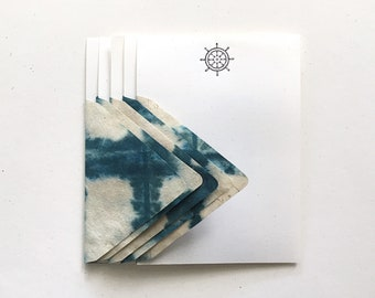Stationery at Sea - 5 Letterpress Ships Wheel Letter Papers & 5 Shibori Envelopes