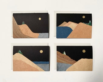 Handmade Paper Collage Cards 4-Pack, Sand Dunes, Sleeping Bear, Michigan,Cliffs, Canyon, Lost Lake, Full Moon, Marbled, Mountains, Landscape