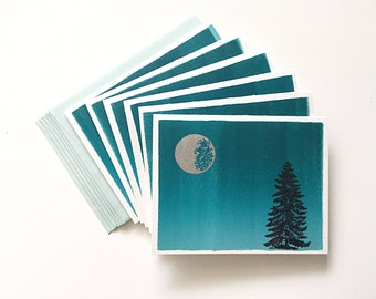 Letterpress Cards 6-Pack- Silver Moon & Turquoise Night Sky Ink Wash