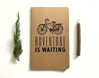 SALE! Letterpress Moleskine Journal - Adventure is Waiting Bike