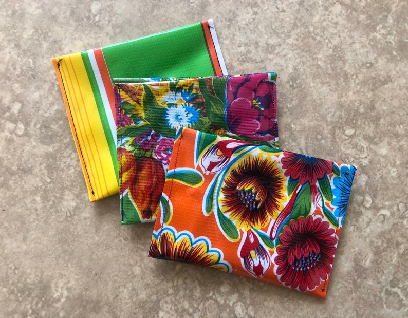 Oilcloth pouch with gifts