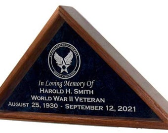 Military Veteran Funeral Flag Display Case - for Burial casket Flag - INCLUDES Emblem and 4 lines of Personalized Engraved Text