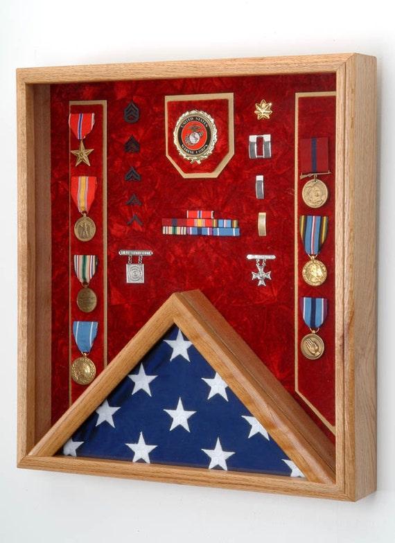 Military Shadow Box Military 3x5 Flag U0026 Medals Display Case | Etsy