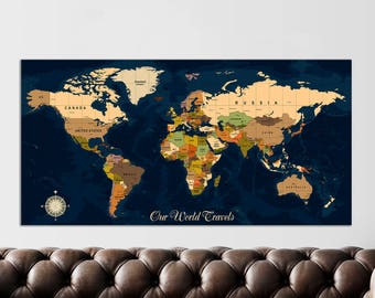 Push Pin Map, Push Pin Travel Map, Push Pin World Map, Canvas World Map, Map Wall Art, Map Of The World, Map Art, Map Print, FAST SHIPPING