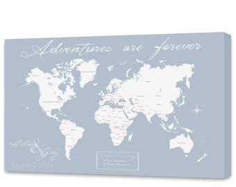 Push Pin Map, World Travels Map, Map Art, World Map Canvas, Travel Map, Push Pin Travel Map, Personalized Push Pin Map Anniversary Gift