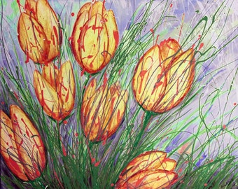Tulip Art, Yellow and Red Flower Art Print, Floral Wall Art, Flower Print, Wall Art, Wall Decor,  Tulip Painting, Flower Print, Canvas Art