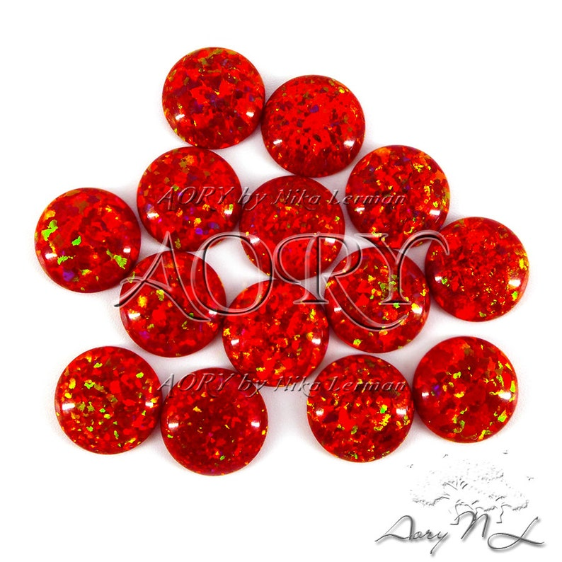 Flame Opal OP45 Red Synthetic Opal Beautiful Sparkling Opal Cabochon Round Shape Cabochon 1pcs 3mm Flame Synthetic Opal Cabochon