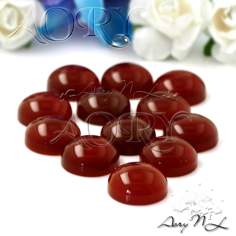 Dark Red Carnelian Cabochon Dark Red Color Dyed Round Shape Cabochon 1pcs 10mm Natural Carnelian Cabochon Smooth Polished