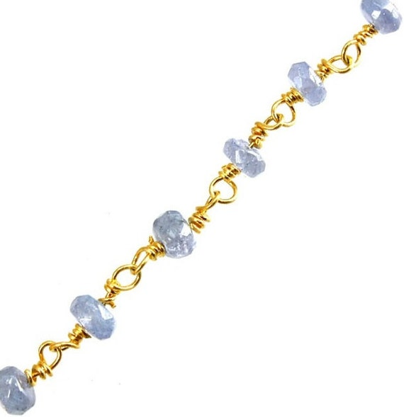 Faceted Rondelle Tanzanite: 5 Ft. Faceted 3.5mm Tanzanite Rondelle Gemstone Rosary