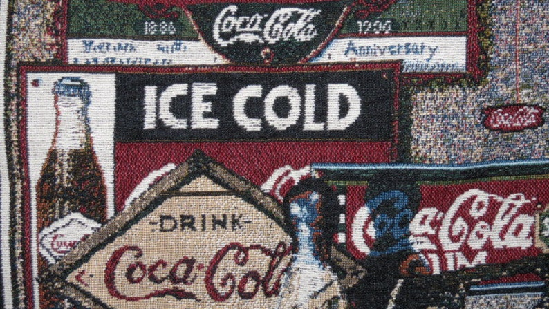 Coca Cola Window Valance, Vintage Coca Cola, Blue, Red , Tan, Brown ,Green, White valance, tapestery