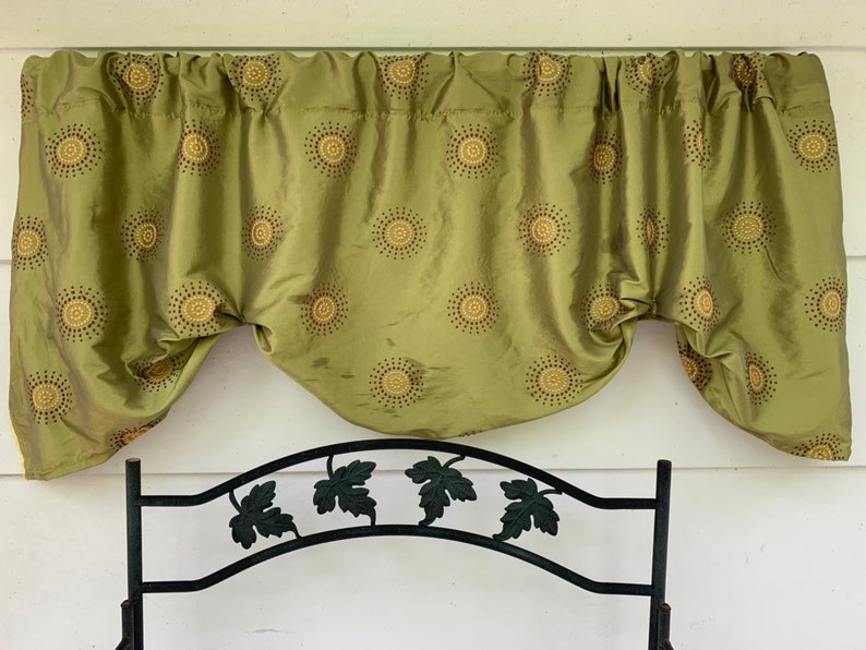 green and brown and yellow embroidered circles Olive green window valance