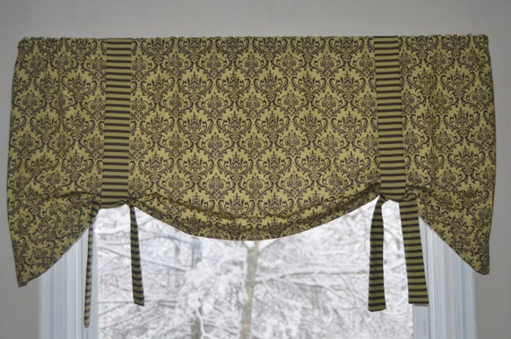 tie up window valance image window valance tie up olive green and etsy