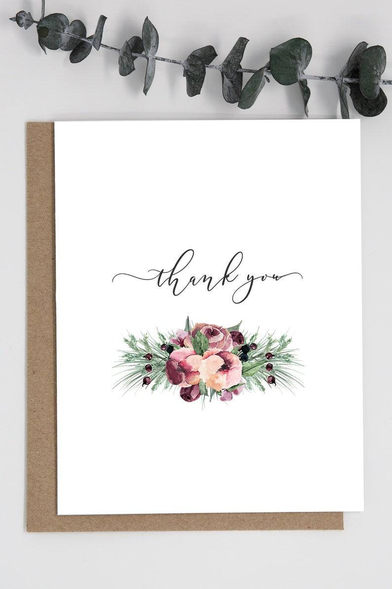 kraft envelopes floral floral thank you card Set of 10 Pretty Floral Thank you cards A2 size simple thank you thank you cards