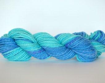Hand Spun Wool Yarn, Blue, Turquoise, 2 ply