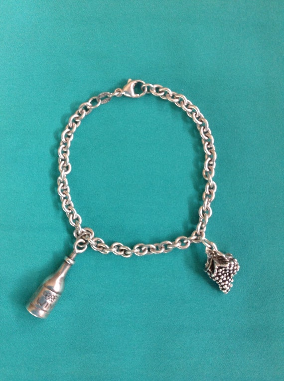 Vintage Judith Jack Sterling Silver Charm Bracelet