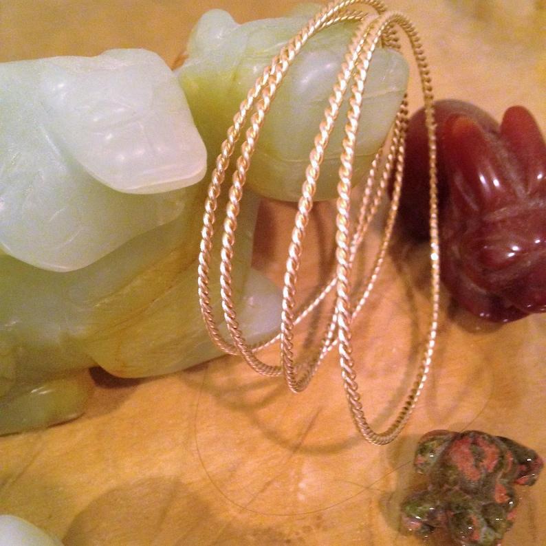 Gold Bangle 14K Gold Rope Bangle Bracelet Gold Stacking 14k Gold Wire Bangle Bracelet Solid 14k Gold Gift Trending Jewelry 2.05 mm