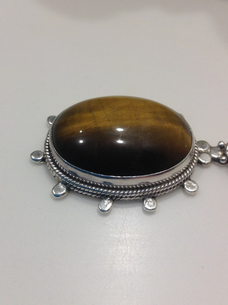 Vintage Tigers Eye and Sterling Pendant Artisan Made Tiger/'s Eye Pendant Large Tiger/'s Eye Pendant
