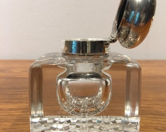Antique Crystal and Sterling Silver Inkwell