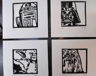 Collectie afdrukken oorspronkelijke linoleum (star wars). Auteur: Miguel Alfaro