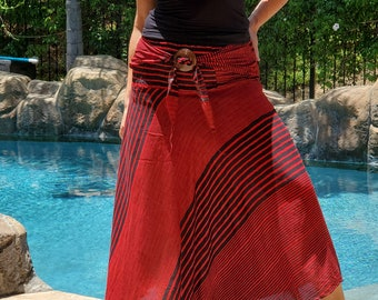 Maya Antonia Beach-Bohemian Women Maxi Skirt,Red Stripes Smocked Waist,Boho Gypsy Hippie Style Clothing Convertible SkirtStrapless Dress