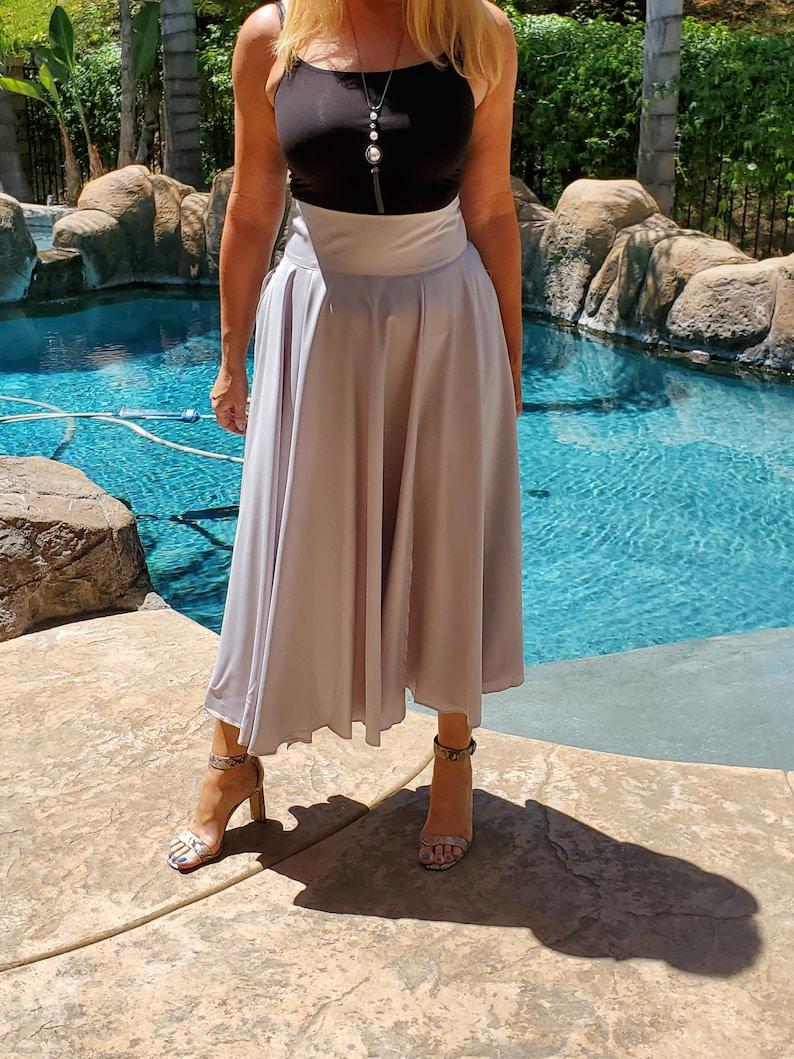 Size ML Full Circle Slit High Waist Wedding Guest BridesmaidsOfficeNight Out Flowy Pockets Maya Antonia Dove-Grey Long Maxi Skirt