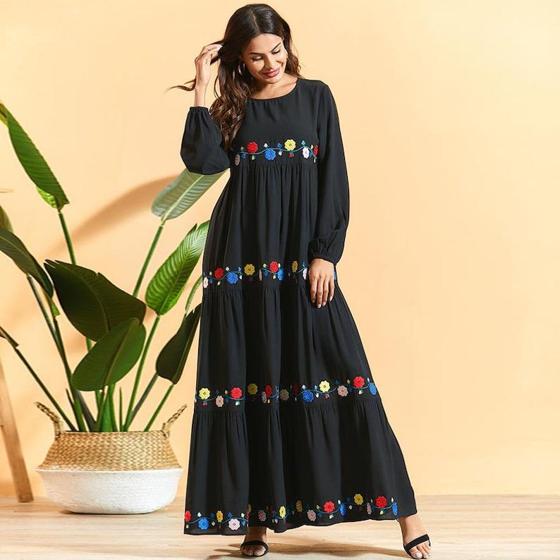 Boho Gypsy Hippie Clothing Maya Antonia Black Floral Embroidery Bohemian Long Sleeves Maxi Dress EthnicFolkWestern,Embroidered,Plus Size