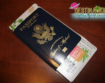 Vanessa's Destination Wedding Invitations - DIY - Leatherette Cover + Foil Generic Wedding Passport & Boarding Pass Sample