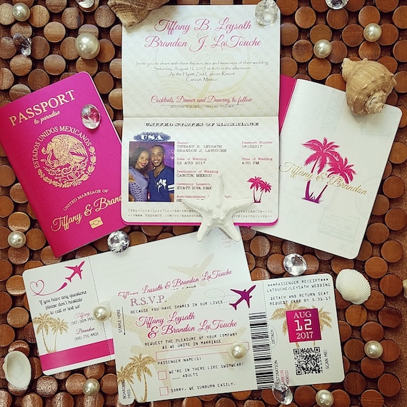 vanessa s destination wedding invitations diy metallic etsy