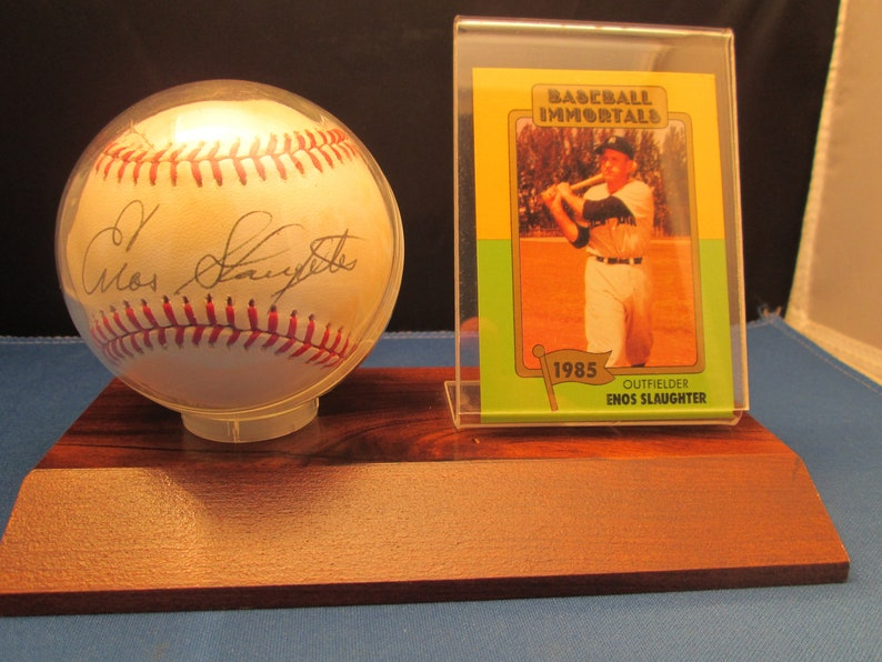 Baseball Immortals 1985 Enos Slaughter Autographed Signed Official Nl Baseball And Card