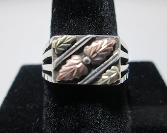 Men's 925 Silver Ring with 10k Gold Leaves Inserts/Inlay, Size 10 1/2