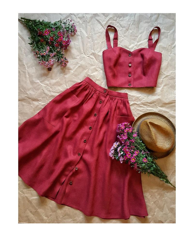 Toscana Burgundy linen skirt with buttons tea length image 0