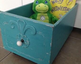 REDUCED PRICE, Decorative Storage, Distressed Turquoise Repurposed Drawer
