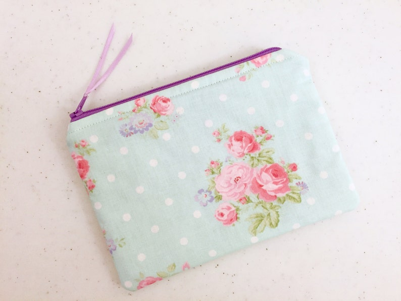 Light Blue Floral Zippered Envelope Size Pouch