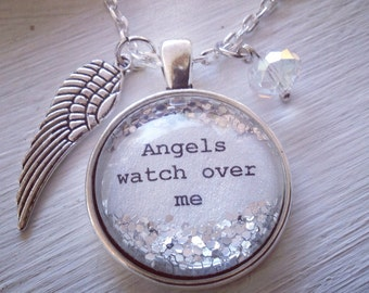 01f86be6c personalizeed jewelry, Angel necklace, Angels watch over me, guardian angel  necklace, quote jewelry, angel jewelry, wing necklace