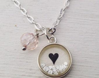 Heart mini glitter pendant necklace, dainty heart pendant necklace, delicate necklace, small pendant necklace, glitter necklace