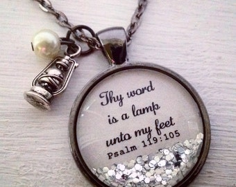 Bible verse necklace/Psalm 119:105/Thy word is a lamp unto my feet/Christian jewelry/Christian gift/scripture necklace/Psalm necklace