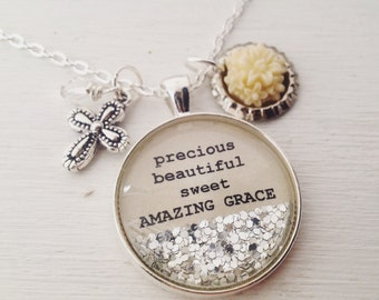 Precious, beautiful, sweet amazing grace personalized necklace, Christian jewelry, hymn necklace, cross necklace, Christian necklace