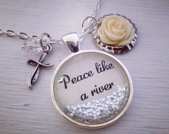 Peace like a river sparkle pendant necklace, rose necklace, round charm necklace, hymn necklace, sparkle necklace, glitter jewelry