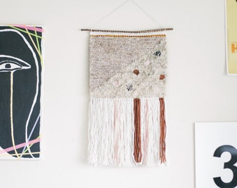 neapolitan / wall hanging weaving tapestry with tassels / textile art