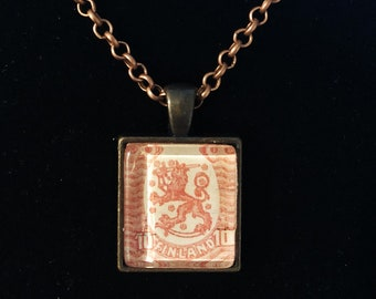 Finnish Postage Stamp Necklace | Finland jewelry | Vintage stamp