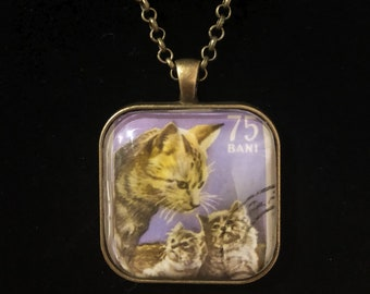 Cat Postage Stamp Necklace | Vintage stamp | Romania | Cat necklace | Cat jewelry | Kittens
